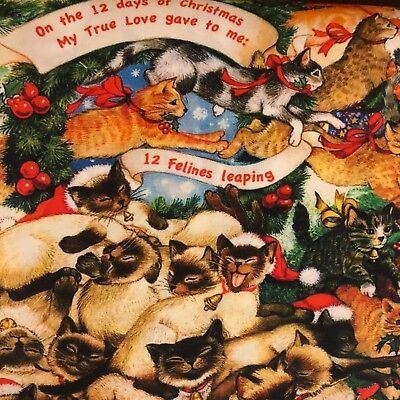 The Joys Of Christmas.The Joys Of Christmas 100 Cotton Fabric By The Yard Cats 12 Days Of Christmas