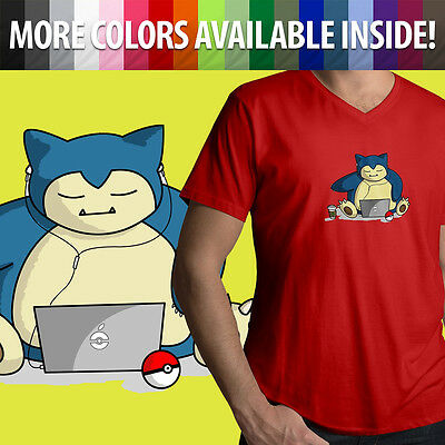 5544afb4d Pokemon Snorlax Gamer Gaming Lazy Chill Relax Graphics Mens Tee V-Neck T- Shirt