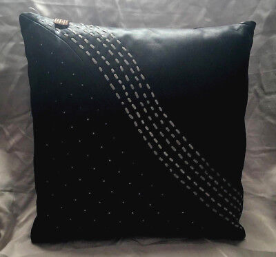 New Pair Of Modern Throw Pillow Cover Real Black Leather Real Suede