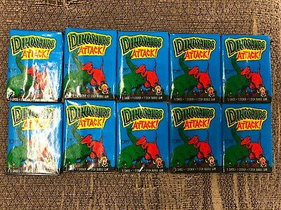 10 Pack Lot 1988 Topps Unopened Dinosaurs Attack! From Box Cards Stickers