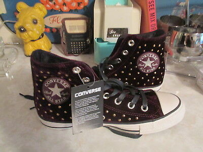 a9a9fe250370 Converse All Star Sangria Velvet Studs High Top Sneakers Size 10 Women s  NWOB