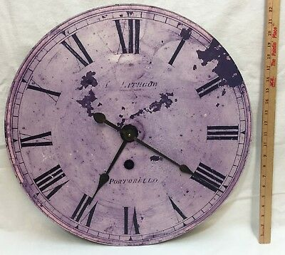 "Large Wall Clock Round Distressed Purple Rustic Finish Wood 22"" Timeworks  USA"
