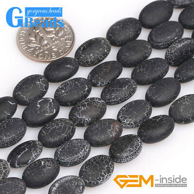 """Natural Black Agate Gemstone Frosted Oval Loose Beads for Jewelry Making DIY 15"""""""
