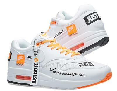 sale retailer 9c518 464dc Nike Air Max 1 Just Do It JDI White Black Orange Womens Trainers 917691 100