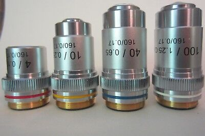 AmScope Achromatic Objectives : 4X, 10X, 40X  100X Lot of 4 pieces