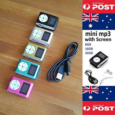 MINI MP3 PLAYER WITH SCREEN 8GB 16GB or 32GB MEMORY WITH CLIP - Local Seller !