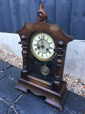 House Clearance Attic Find Vintage Wooden Wind Up Mantel Rare Key Clock Project