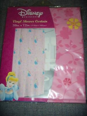 NEW Disney Princess Cinderella Belle Pink Bathroom Shower Curtain