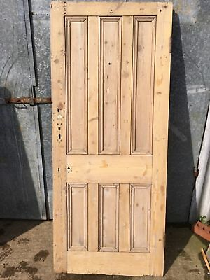 "34x80 1/4"" Reclaimed Victorian Stripped Pine Six Panel 3over3 Wide Internal Door"