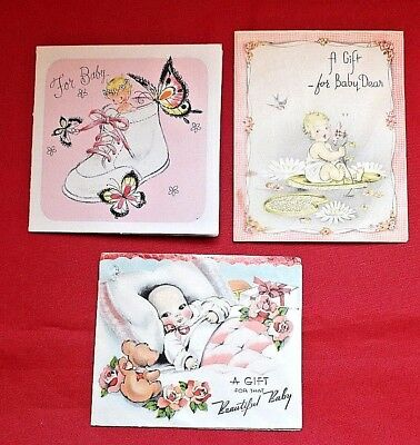 For Baby, A Gift, A Gift for Baby 3 Used Vintage Greeting Cards, 1940s/50s