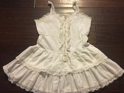 Girl's Vintage White Layered Slip Ruffled Lace Size 6x Very Cute!! Embroidered
