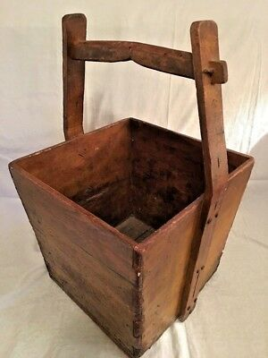 Antique Primitive Chinese Wood Rice Grain Bucket Basket Large Handle