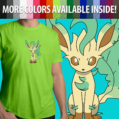 bad19f4e Pokemon Leafeon Eevee Nintendo Game Cartoon Unisex Mens Tee Crew Neck T -Shirt