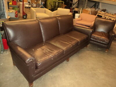 1970S WEIMAN/WARREN LLOYD of Virginia Leather Lounge Sofa and Chair 1978
