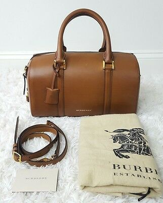 NWT Burberry Brown Ochre Leather Medium Alchester Bowling Bag Crossbody New 41ffe18d05a80
