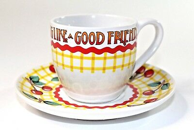 VINTAGE Mary Englebreit Life Has No Blessings Like Good Friend Tea Cup + Saucer