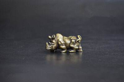 China's archaize brass rhino Small statue