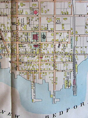 Fair Haven Oxford Acushnet River New Bedford lg. 1895 Bristol Co. Mass. old map