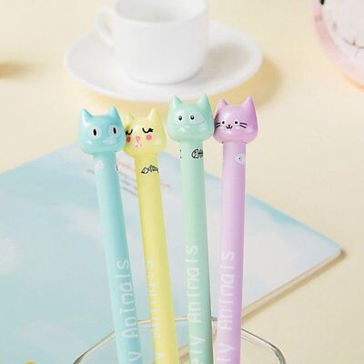 4pcs/set Kawaii Kitsch Cat Head Gel Pen Cartoon Korean Cute Pen Sets Gift Random