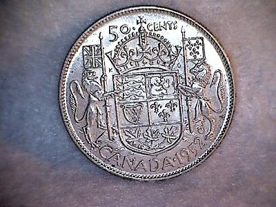1952 Canada Silver Fifty Cent Coin.