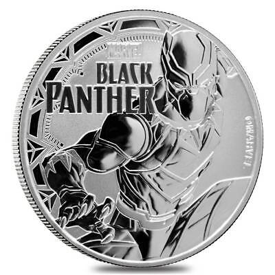 2018 Tuvalu Black Panther 1 oz Silver Marvel Series $1 BU Coin in Cap