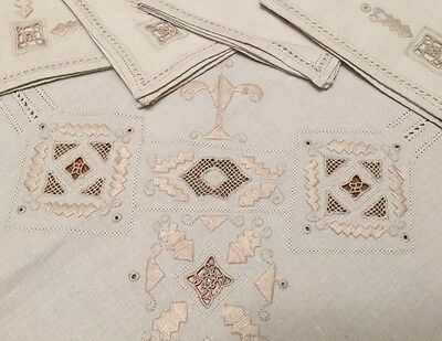 VINTAGE ECRU Linen ITALIAN EMBROIDERED LACE TABLECLOTH + 4 NAPKINS Needlelace