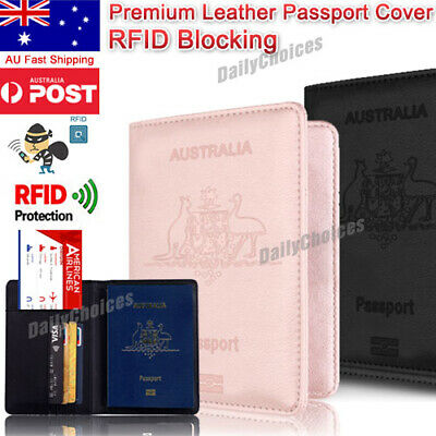 Slim Leather Travel Passport Wallet Holder RFID Blocking ID Card Case Cover AU