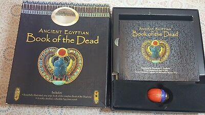 Ancient Egypt Book of the Dead and Spells with Handcrafted Wood Scarab Gift Set