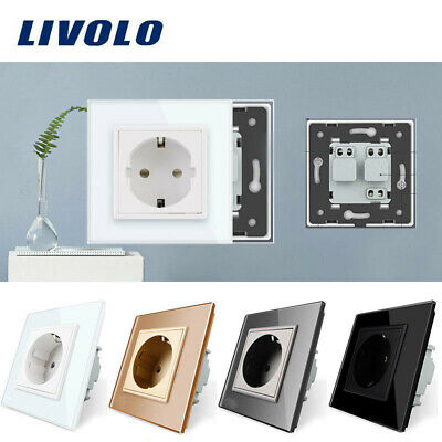 LIVOLO EU Standard Wall Power Socket Crystal Glass Panel 110~250V 16A Outlet