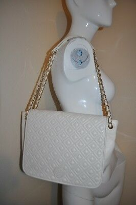592c4475b026 TORY BURCH MARION Chain Quilted Metal Silver Leather  HST036 Flap ...