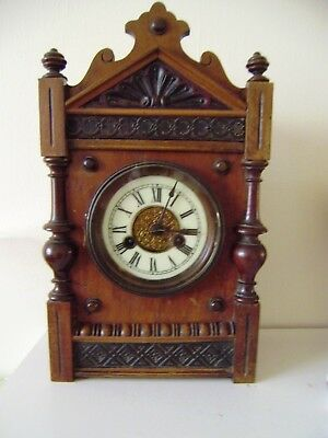 Walnut Mantel Clock Mechanical Movement Key Wind Enamel Face Parts Or Repair
