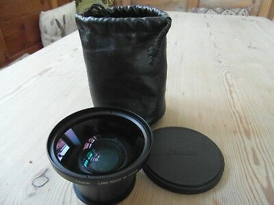 CANON WIDE CONVERTER WC DC 58N-0.7x WITH ORIGINAL LEATHER PULL STRING POUCH.