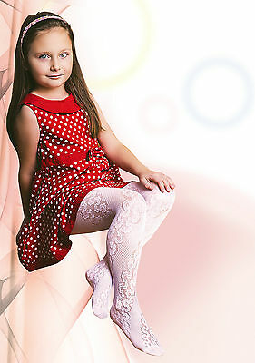 "Girls White Tights 20 Denier Floral Lace Pattern Bridesmaid Communion ""Jagoda"""