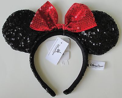Minnie Mouse Sequin Red Bow Ears Headband Disney World Theme Parks NEW