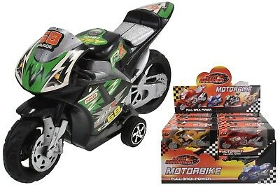 Pull Back Motorbike Toy Motorcycle Street Machine Friction Power Kids Gift New