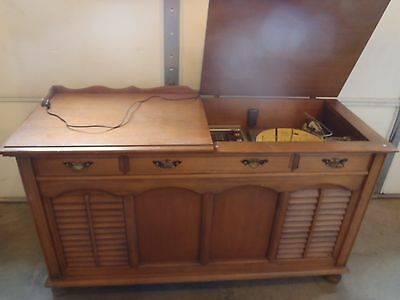 Rare Vintage Packard Bell Am/fm Radio Phonograph Record Player Console  Cabinet