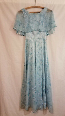 Vintage 70s floral chiffon formal gown, maxi dress, capelet