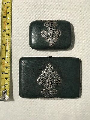 Antique French green leather silver note aide memoire dance card and wallet (2)