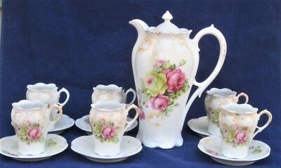 Vintage/Antique Hot Chocolate Set – Covered Pot, 5 Cups, 6 Saucers