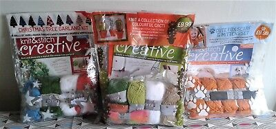 3 X Knit and Stitch Creative Kits Cacti/Fox Scarf & Mittens/Xmas Tree Garland.