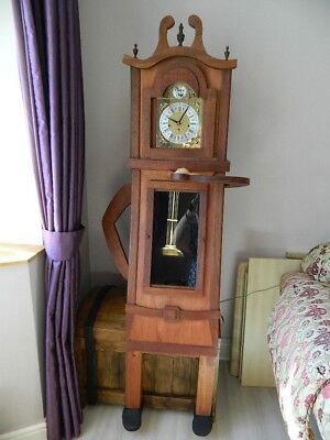 New Wooden Curvy Grandfather Clock on Chest. Unique.FREE LIVE EDGE COFFEE TABLE!