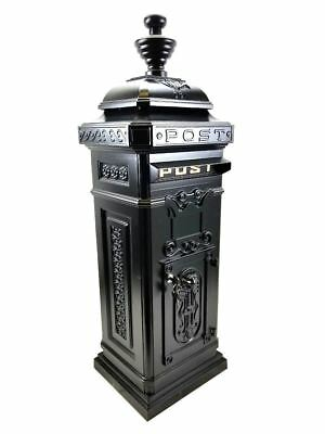 Large Post Box / Mail Box Freestanding Cast Aluminium Letter Box In Black