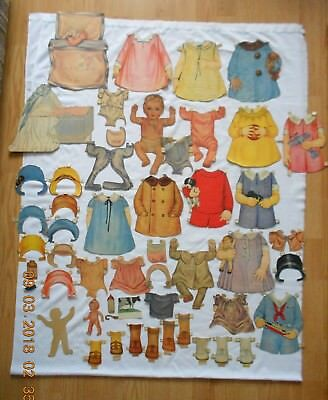 Large Lot Of 50 + Pcs Assorted Vintage Antique Paper Doll Cut Outs And Clothes