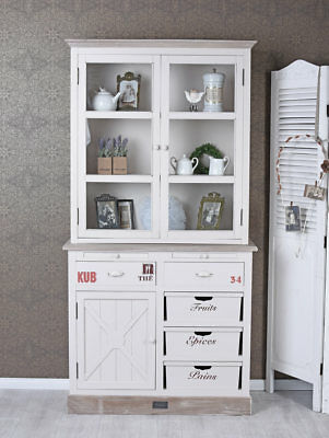 Cucina a buffet vintage armadio in stile country francese credenza legno bianco