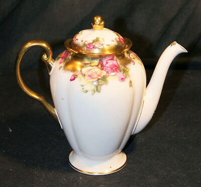 Royal Chelsea Golden Rose Bone China Coffee Pot With Lid