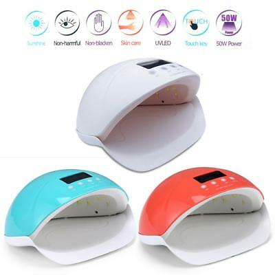 50W LED UV Lamp Nail Dryer Gel Polish Fast Curing Timers Dual Hand