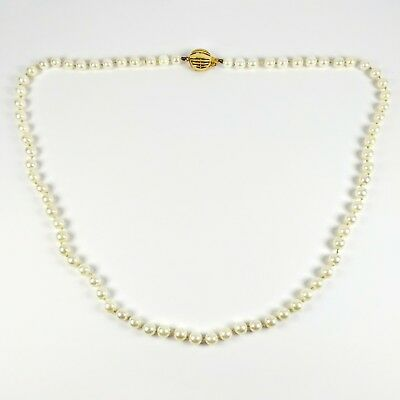 """Estate Knotted 5mm Akoya Cultured Pearl 14K Gold Clasp 20"""" Strand Necklace"""