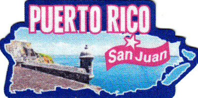 SAN JUAN PUERTO RICO Iron On Printed Patch Country Shape Capitol City