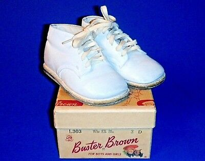 "Adorable Pair of Vintage ""Buster Brown"" Baby Shoes in Original Box"