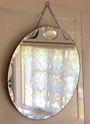 "LARGE VINTAGE 1930s ROUND ART DECO 22"" DIA. FRAMELESS BEVELLED EDGE MIRROR"